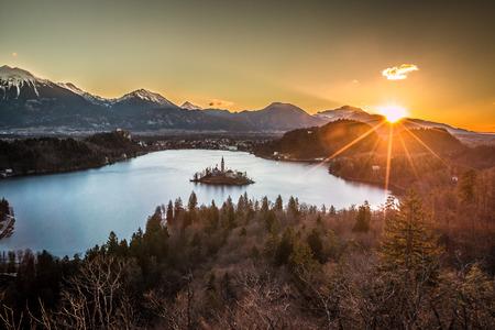 Sunrise in Lake Bled 免版税图像