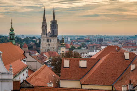 Sunset in Zagreb 免版税图像