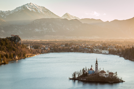 Sunset in Lake Bled
