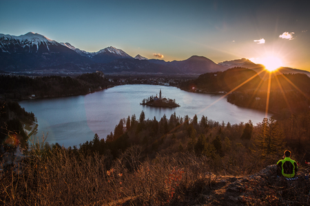 Sunrise in Lake Bled Foto de archivo