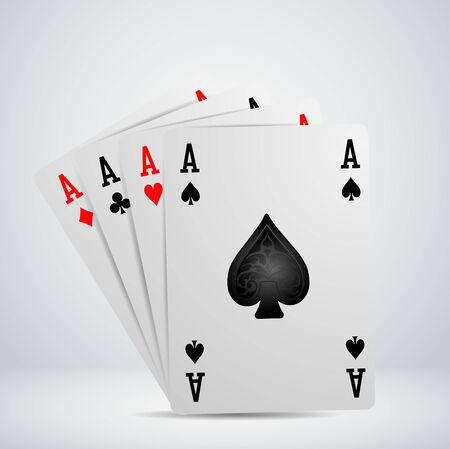poker hand: A winning poker hand of four aces playing cards Illustration