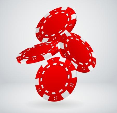fichas casino: Ilustración de la caída de fichas de póquer Red Vectores