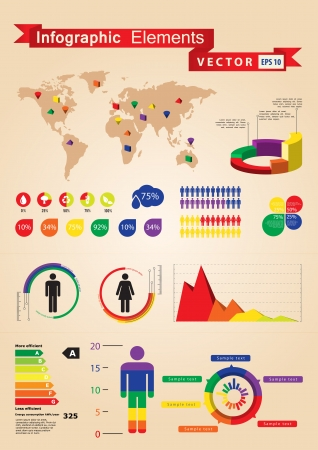 Retro infographics set  World Map and Information Graphics Illustration