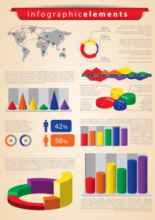 Retro infographics set. World Map and Information Graphics Vector
