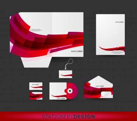 stationary set: Abstract Red Wave Stationery design set in vector format