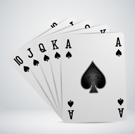 deck of cards: royal flush playing cards Illustration