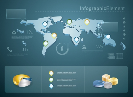 3d vector world map illustration and infographics design template. Иллюстрация