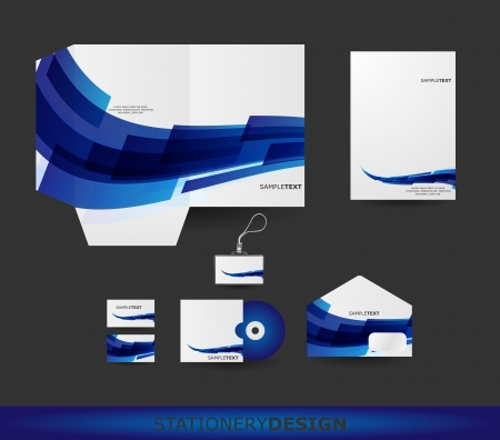 stationary set: Abstract Blue Wave Stationery design set in vector format Illustration