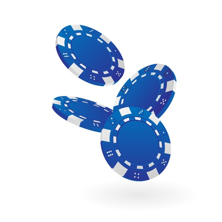 casino chips: Illustration of Falling Blue Poker Chips Isolated on White Illustration