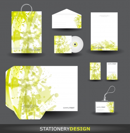 Green Stationery design set in vector format Vector