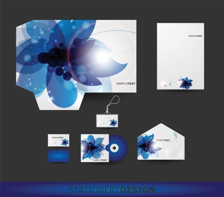 Abstract Blue Flower Stationery design set in vector format Vector