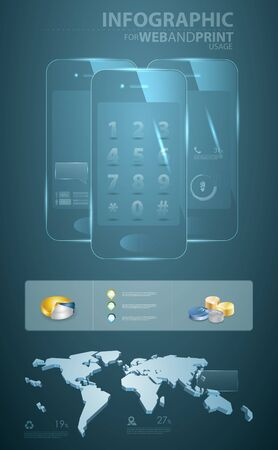 high detailed infographic elements for mobile communication Vector
