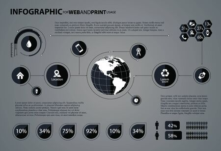 Infographic elements with globe in center