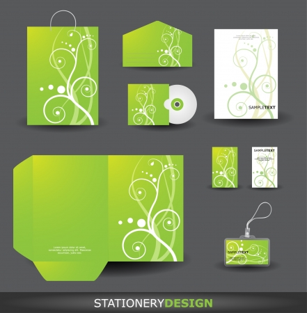 Stationery Design set with Retro Floral Ornament Vector