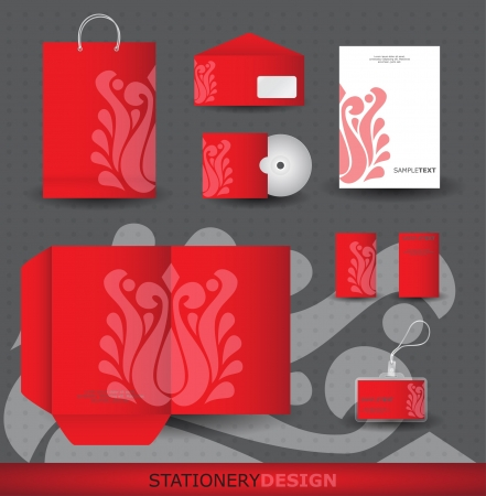 Red Stationery design set Vector