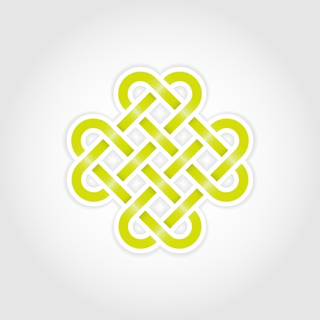 Green eternal knot concept in editable Vector