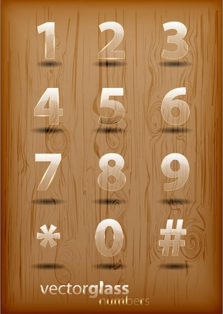 Glass effect numbers Vector