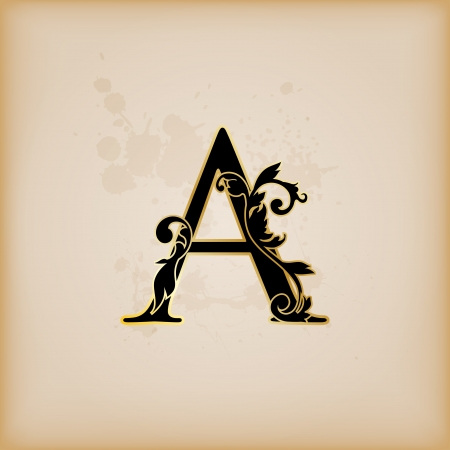 old victorian letter: Vintage initials letter A