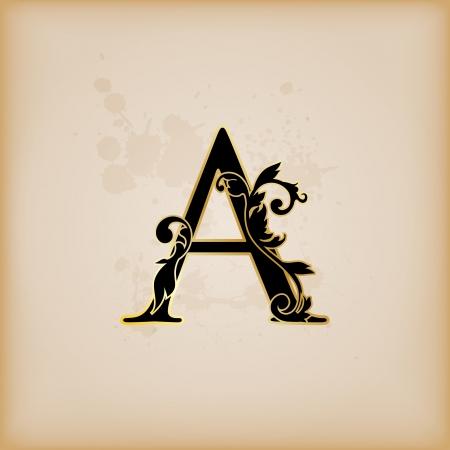 Vintage initials letter A Фото со стока - 15061814