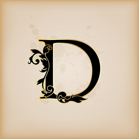 rococo: Vintage initials letter d