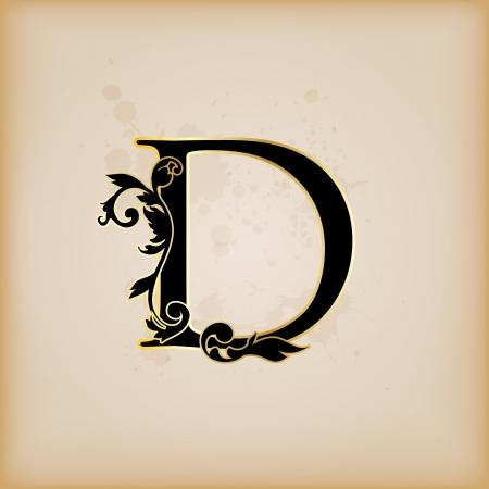codex: Vintage initials letter d