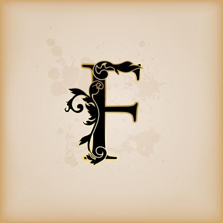 Vintage initials letter f