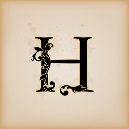 initial: Vintage initials letter h