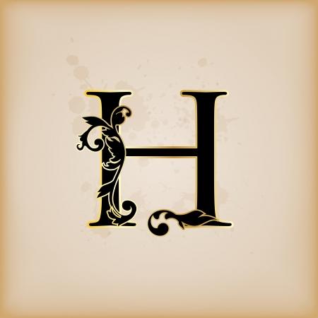 Vintage initials letter h
