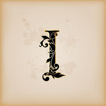 Vintage initials letter i
