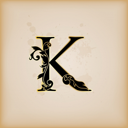 Vintage initials letter k Stock Vector - 15061799