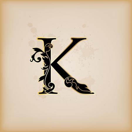 initial: Vintage initials letter k
