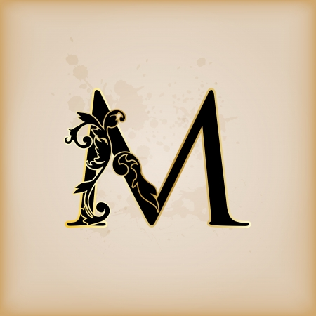 initial: Vintage initials letter m