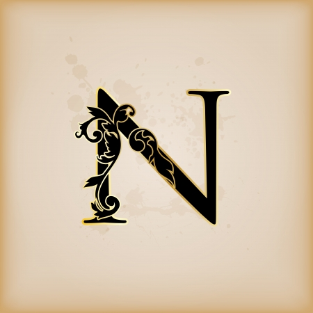 codex: Vintage initials letter n