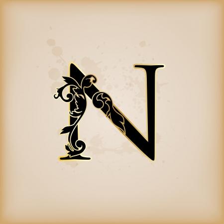 Vintage initials letter n