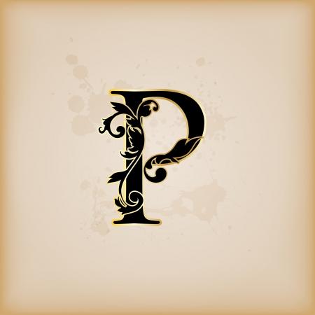 Vintage initials letter p Illustration