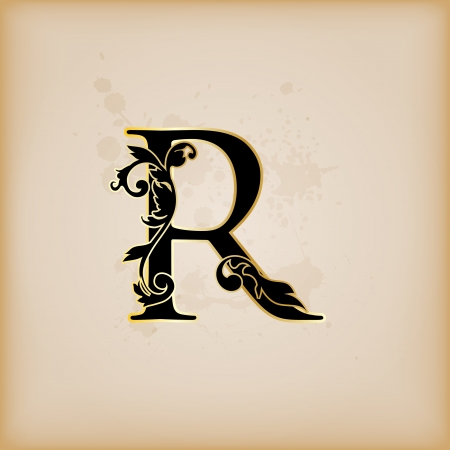 Vintage initials letter r Stock Vector - 15061796