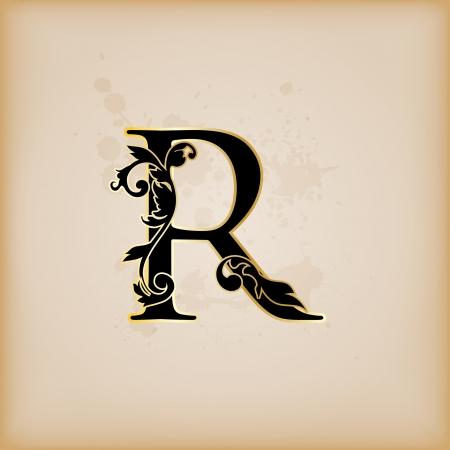 Vintage initials letter r Фото со стока - 15061796