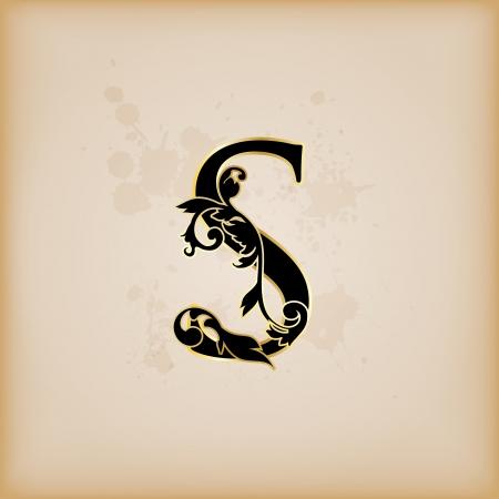 flower font: Vintage initials letter s