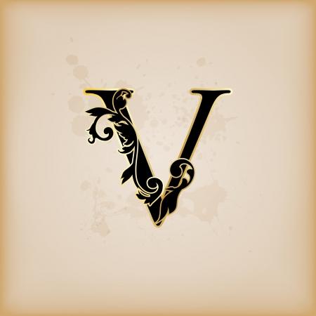 old victorian letter: Vintage initials letter v