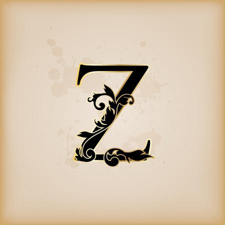 letter z: Vintage initials letter z