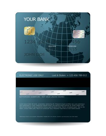 Creditcard design met wereldbol