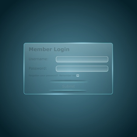 glass login form for the web Vector