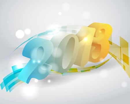 3d color 2013 on stylish bacground Vector