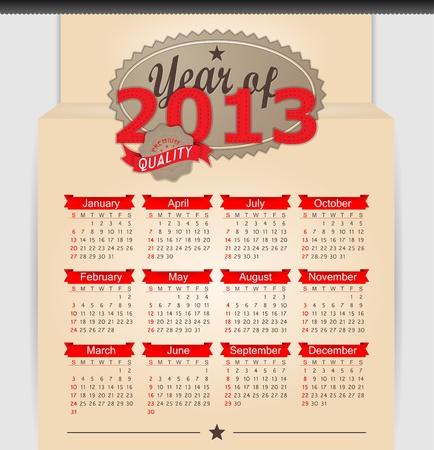 Retro design calendar for 2013. Vector