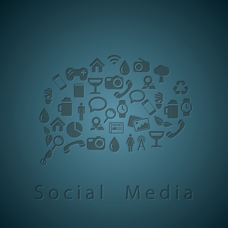 Social media icons texture in chat bubble