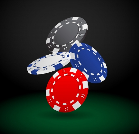 poker chip: Illustration of Falling Poker Chips