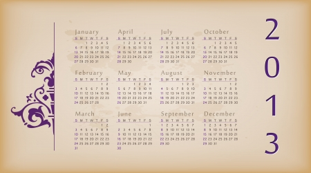 Retro design calendar for 2013. Stock Vector - 15711129