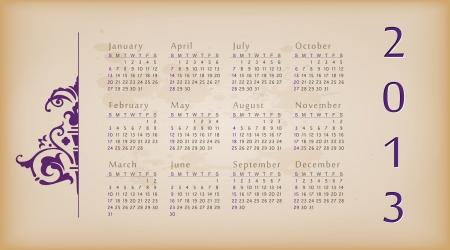 Retro design calendar for 2013. Stock Vector - 15711129