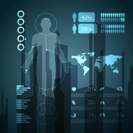 higado humano: médicas elementos infográficos