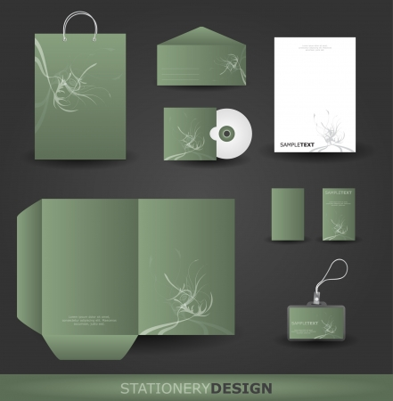 Floral stationery design set in  format Vector